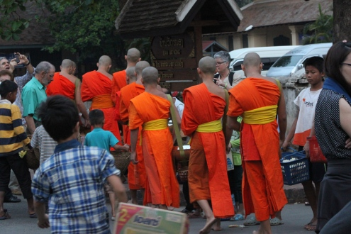 Tourists getting too close to the monks