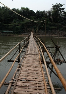 The bamboo bridge over the Nam Khan river