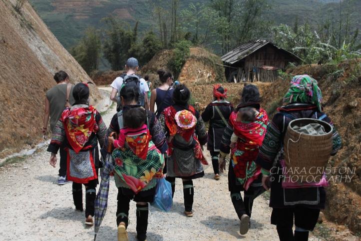 Trekkers and local women