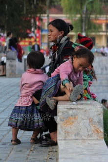 HMong woman with children