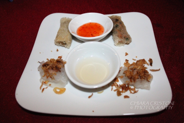 Rolls and dumplings with sauce