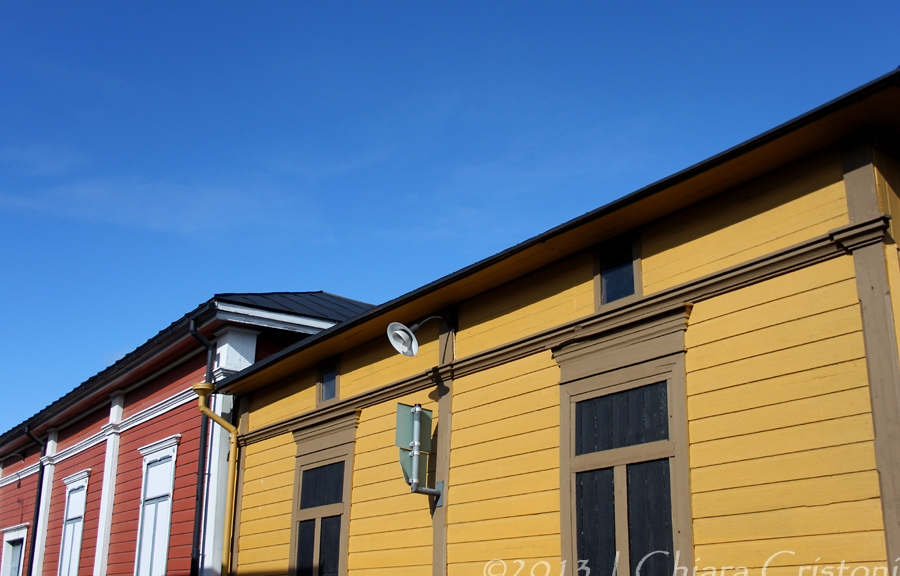 Contrasting house colours in Rauma, Finland