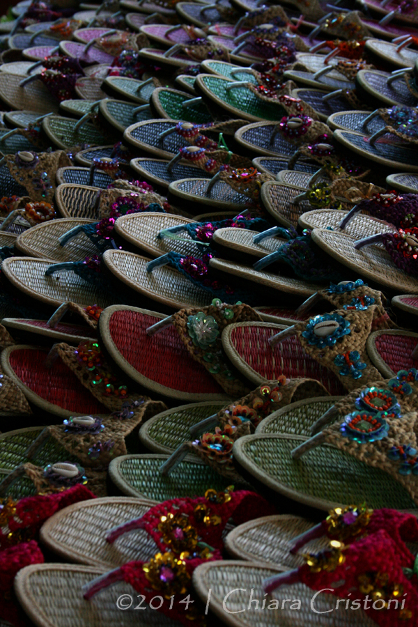 texture market Thailand Bangkok flip-flops
