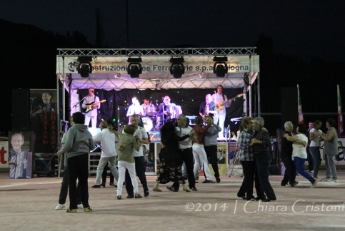 Band and dancing crowd