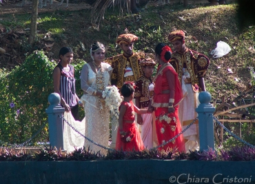 Seen by the lake shore - a traditional wedding party