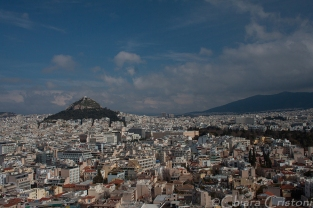 Athens and Lycabettus hill seen from the Acropolis