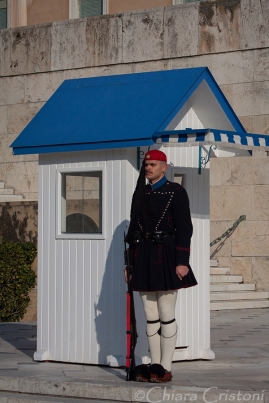 Hellenic guard outside the Parliament