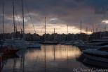 Piraeus marina at sunset