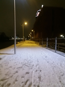 Snow in Amsterdam city
