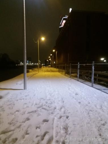 Snow in Amsterdam city